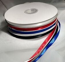 "Ribbons 3/8"" wide 5 yards White double faced satin and Royal and Red single face"