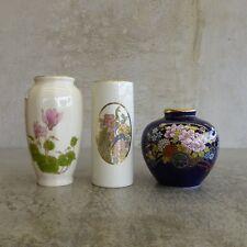 3 Vintage Miniature Porcelain Vases made in Japan 1970s - 1980s Otagiri floral
