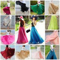 Retro Lady Chiffon Dress Elastic Waist Double Layer Long Maxi Skirt Travel Beach