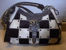 Large Bone Ivory Chocolate Brown Cowhide Checked Purse Conceal Carry Gun Pistol