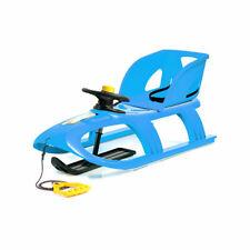 Schlitten mit Lehne Lenkrad Kinderschlitten blau Kunststoff