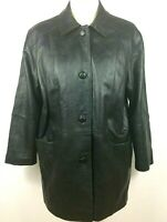 Womens Sardar Genuine Real Leather Black Button Up Jacket Size 14