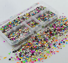 Colorful Multi Shaped Mixed Embellishments Metal Nail Art Gems Studs Decals Box