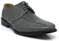 Parrazo Men Dress Shoes Crocodile Printing Oxford Leather Lined Lace Up Gator