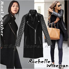Authentic!!! Size S ZARA WOMAN JACKET COAT QUILTED LEATHER SLEEVES MOHAIR BLAZER