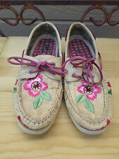 Sperry Top- Sider Tan Fabric With Flowers Boat Shoes Women's 9 M