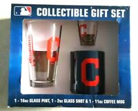 CLEVELAND INDIANS Glassware Gift Set Pack Pint Glass Shot and Coffee Mug Boelter