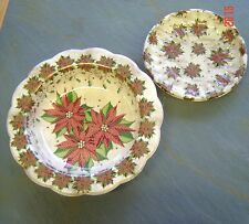 LOT 2 Christmas LARGE BOWL Small PARTY Food Poinsettia Plastic Serving Stack New