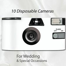 10 x Disposable Camera - flash 27exp wedding bridal white matching table cards