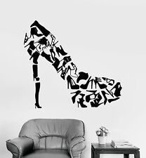 Vinyl Wall Decal Footwear Women's Shoes Shop Fashion Stickers (1287ig)