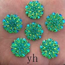 DIY 10pcs AB Resin flower  Flatback Rhinestone Wedding  2 hole Button homecrafts