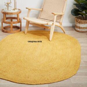 Rug 100% Natural Jute Handmade Rustic look Rug Braided style Reversible Oval Rug