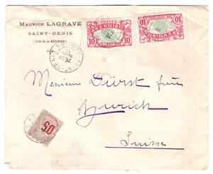REUNION France to Switzerland  old cover - mix franking
