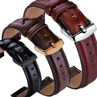 18 20 22mm Genuine Leather Wrist Watch Band Strap Wristband + Quick Release pins