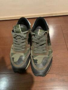 Auth Valentino Sneakers Studs Camouflage Green Size EUR 40 Used from Japan