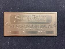 Simplicity Brass Data Plate Tag Antique Gas Engine Hit Miss