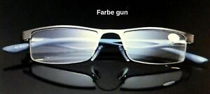 Lesebrille Metallrahmen Federscharnier Komfortabel 21g gun  +1.0 +1.25 bis +6.0