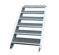 Stahltreppe Treppe 6 Stufen-Stufenbreite 140cm / Geschosshöhe 90-120cm verzinkt