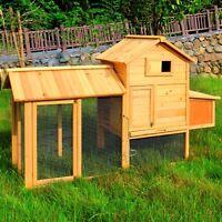 "Wooden 82"" Chicken Coop Hen House Pet Animal Poultry Cage Rabbit Hutch w/Run"