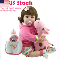 "22"" Vinyl Reborn Baby Dolls Lifelike Newborn Silicone Girl Doll Toy Xmas Gift"