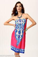 Womens Summer Mini Dress uk L pink patterned sundress beachdress casual hols