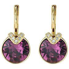 Swarovski 5509404 Earrings Bella V Purple Length 1.8cm Gold Plated RRP $89