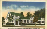 Flushing Queens Long Island NY Colonial House Linen Postcard