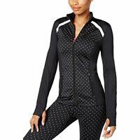 Ideology Womens Reflective Polka Dot Athletic Jacket Black
