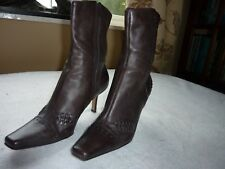 PRINCIPLES SIZEuk 5  eur 37 BROWN LEATHER STILETTO HEEL ANKLE BOOTS