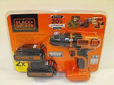Black Decker 20V Lithium Cordless Drill Driver 2 Bat B&D Bundle New