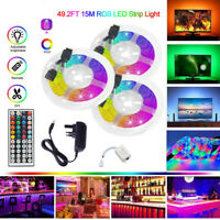 15M RGB 3528 LED Strip Lights With IR Remote TV Back Light 12V Colour Changing