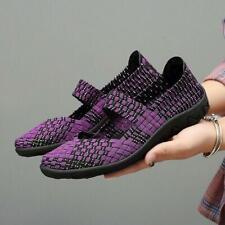 Women Walking Shoes Slip On Woven Elastic Flat Lightweight Fashion Casual Shoes