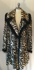 BISANGE RABBIT DYED TIGER STRIPE FOX TRIM LONG SWING FUR MEDIUM ORIG $4995.