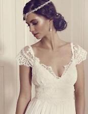 Vintage Wedding Dresses V Neck Sleeve Princess Lace Boho Bridal Gown Custom NEW
