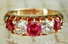 Victorian 18ct Gold Ruby & Old Mine Cut Diamond Five Stone Ring