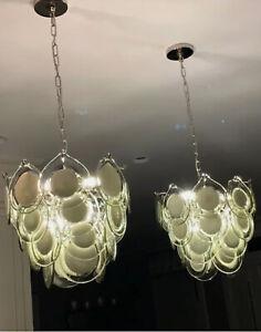 Vistosi Inspired Modern Grey Glass Disc Chrome Chandelier Pendant Light (1 of 2)
