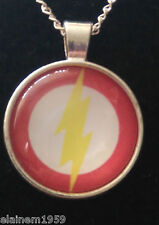 "The Flash Cabachon glass dome Necklace Pendant.20"" chain"