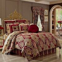 J. Queen New York CRIMSON 4 Piece Queen Comforter Set w/ Bed Skirt & 2 Shams
