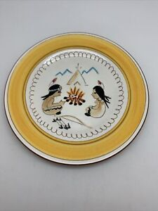 """Vintage mid century Stangl Indian Camp Fire Plate 9 1/4"""" Kiddie ware Indian"""