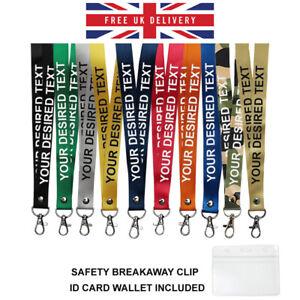 Printed or plain Lanyard - Personalised, custom, neck strap, ID HOLDER Safety UK