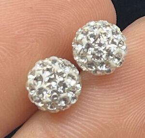 14k Gold Earrings Rhinestone White Gold Rhinestone Studs
