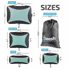 Packing Cubes – Set of 4 Travel Organizers & Laundry Bag + 3 PVC Zip Bags