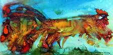 Persa Pájaro/original al óleo sobre lienzo estirada por Sergej hahonin/30 X 60 Cm
