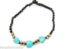 Girls Ladies Turquoise Love Heart Bead Ankle Bracelet Foot Anklet Hippy Boho