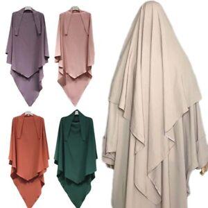 Ramadan Muslim Women Prayer Long Khimar Hijab Overhead Shawl Islam Abaya Jilbab