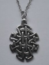 Chain Necklace #2343 Pewter CELTIC KNOT SHIELD (28mm x 18mm)
