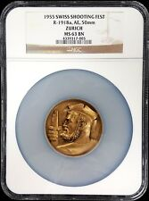 1955 Swiss Shooting Fest Medal, R-1918a, AE, 50mm, Zurich, NGC graded MS 63 BN!