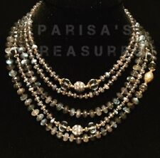 labradorite high quality 5 strand beaded neclace with an accent 18k gold bead