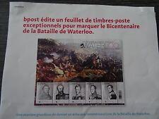 Feuillet Bicentenaire Waterloo Juin 1815-2015 (poste Belge)