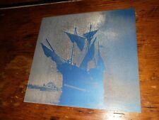 Vintage Zinc Metal Letterpress Printing Plate Pirate Ship Iron Cross Nautical